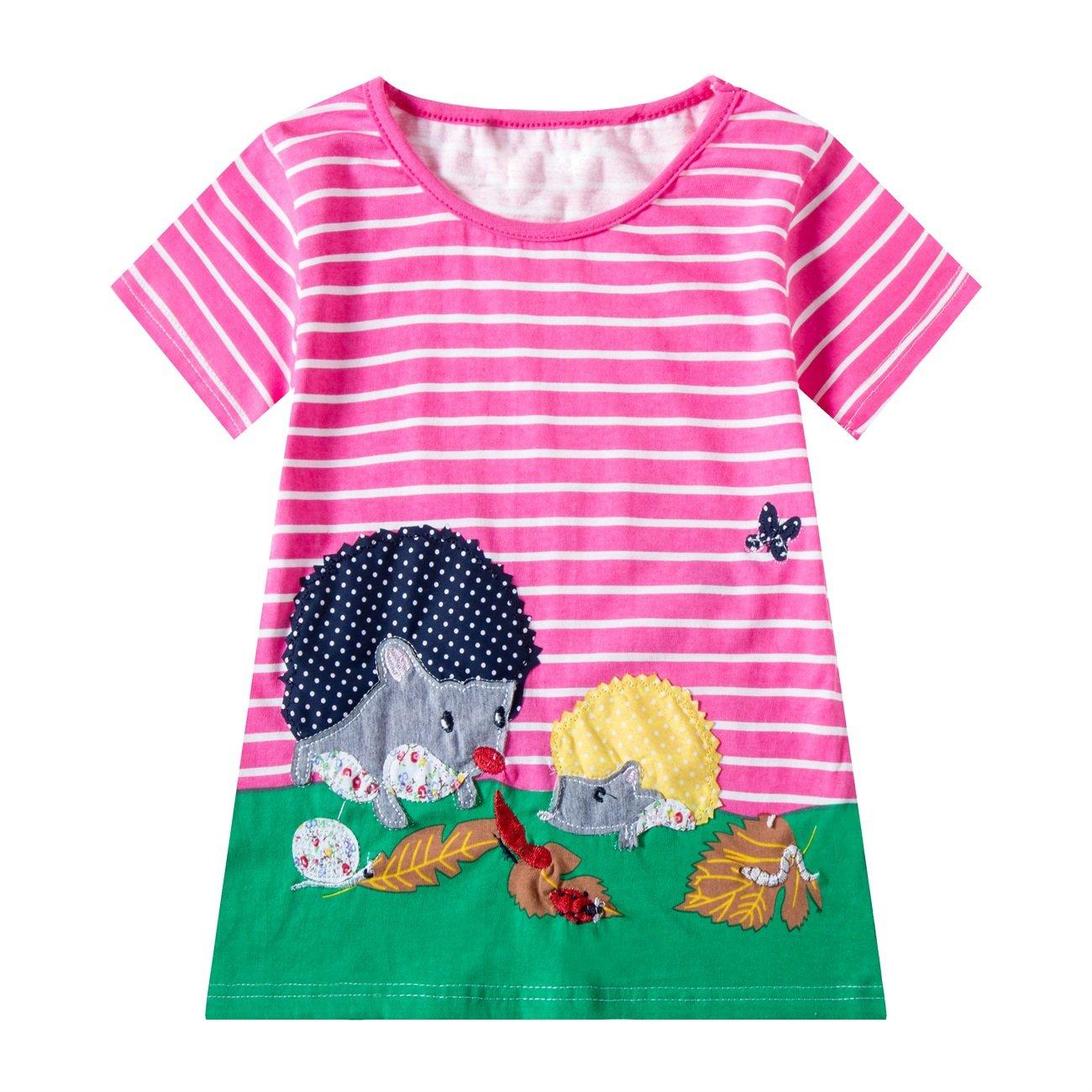 Huata Little Girls Short Sleeve Casual T-Shirt Dresses (2T, Pink)