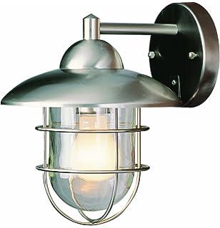 Trans Globe Lighting 4370 ST Coastal Coach 8 Inch Outdoor Wall Lantern Stainless Steel