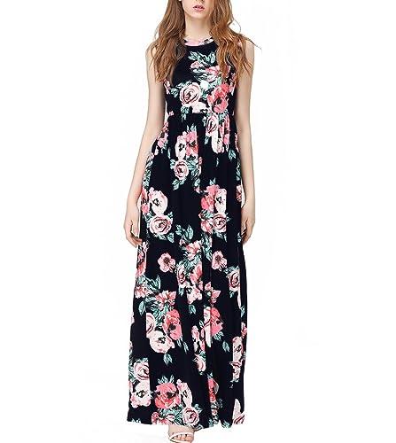 Women's Sleeveless Maxi Dress Vintage Floral Print Casual Long Tunic Dresses GABREBI