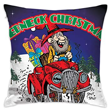 Amazon Com Redneck Christmas Santa Square Throw Pillow