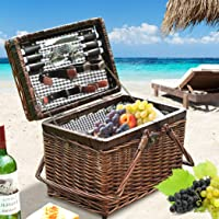 4 Person Picnic Basket Deluxe Baskets Set Outdoor Blanket Deluxe Willow Gift