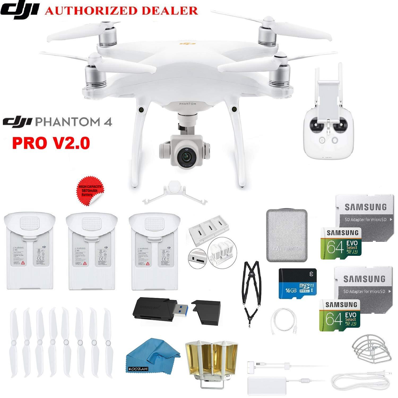 Dji Phantom 4 Pro V20 Quadcopter Drone With 1 Inch 20mp Battery Original Intelligent Batrai 4k Camera Kit 3 Total Batteries 2 64gb Micro Sdxc Cards Reader Snap On Prop