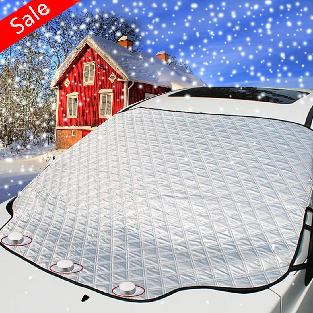 3rd Generation Windshield Snow Cover,Magnetic Edge Car Snow Cover,No More Scraping Car,for Winter Snow Ice and Frost,Heat Preservation/Antifreeze/Durable,Fits Most Car, SUV, Truck