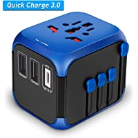 Nocalen International Universal Travel Adapter with Self-Reset Fuse (High-Speed 30W Max,2 USB Ports &1 QC/PD 3.0),Worldwide All in One Plugs Converter Smart Charger AC Power Wall Plug for Worldwide 220+ Countries like Europe Asia Japan Australia India Israel Germany France Italy India China Russia American British European Adapter