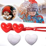 Holady Double Love Heart Snowball Maker Tool, Winter Snow Toy for Kids and Adults, Snowballs Maker Heart Shape, Perfect Outdo