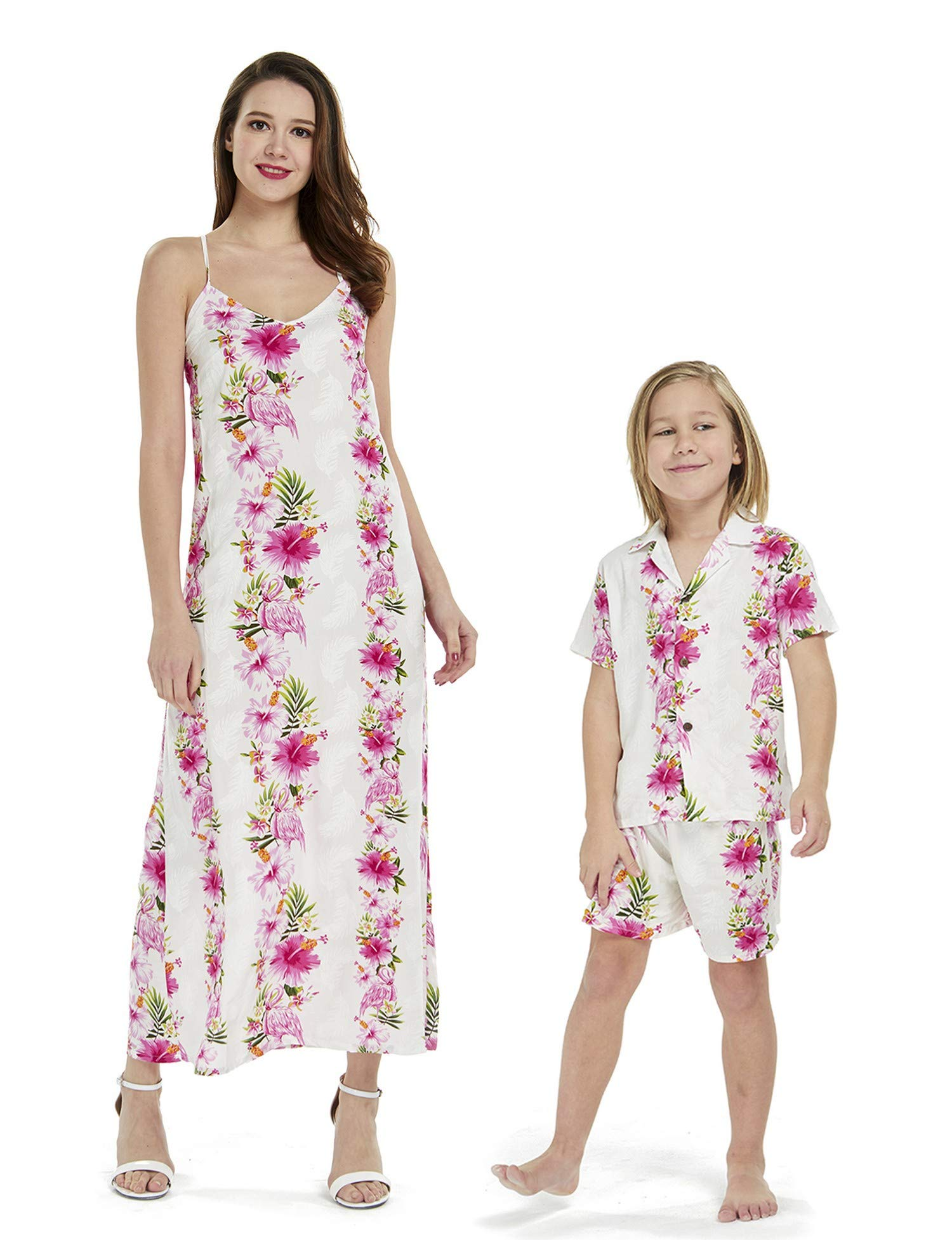 Matching Mother Son Hawaiian Luau Outfit Dress Shirt in Pink Hibiscus Vine Women S Boy 12 by Hawaii Hangover (Image #1)