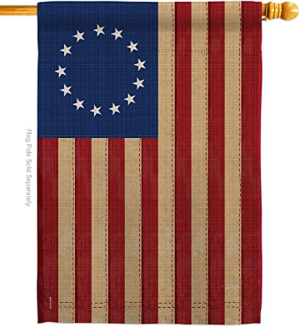 Amazon Com Breeze Decor Betsy Ross Vintage Americana Everyday Historic Impressions Decorative Vertical House Flag 28 X 40 Printed In Usa Garden Outdoor