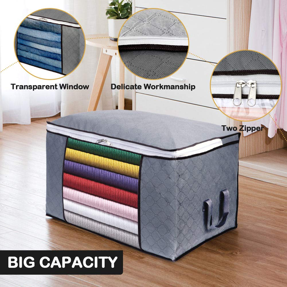 90L Foldable with Clear Window Blankets Sturdy Zipper for Comforters OurWarm 4 Pack Large Capacity Clothes Storage Bag Organizer Grey Thick Fabric Storage Containers with Reinforced Handle