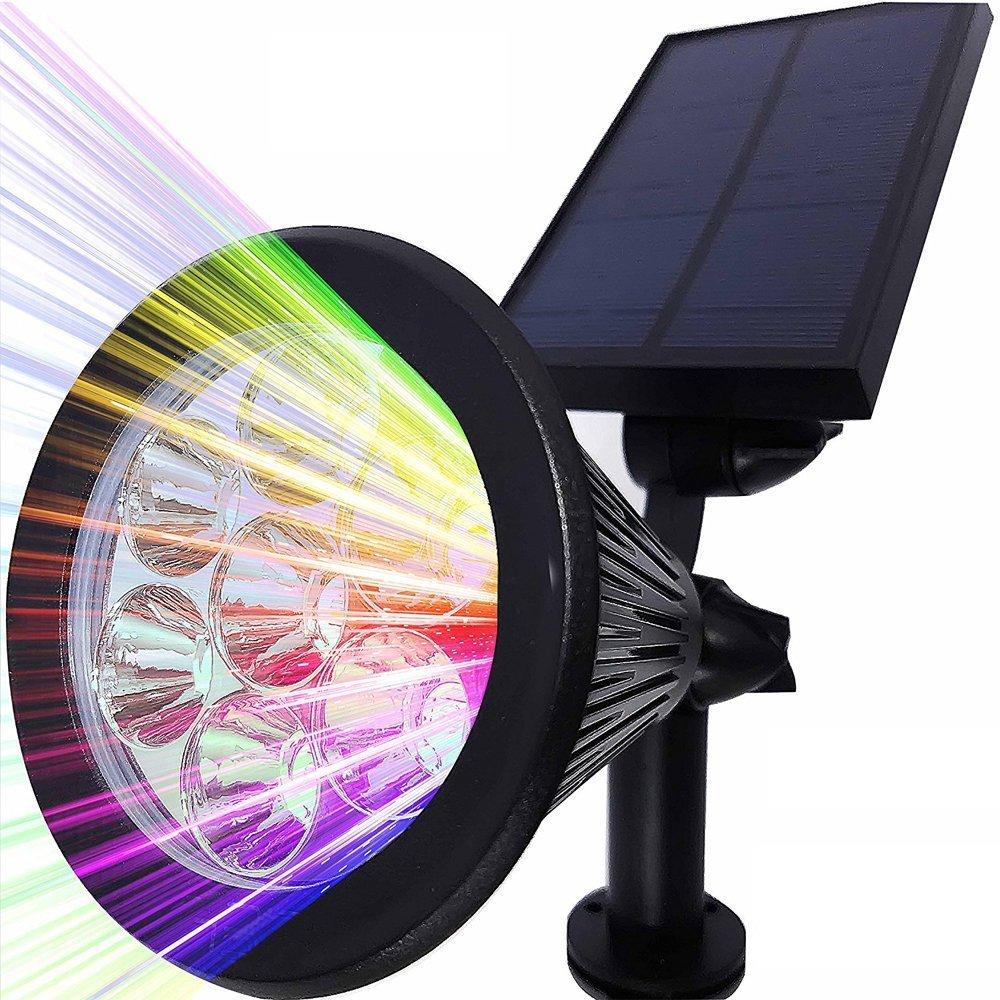 2 Stück Solar Strahler, LEDNut 7 LED 320 Lumen 7 Farben Solarbetriebene Scheinwerfer 2-in-1 Verstellbare Gartenleuchten Solarleuchte Landscape Beleuchtung Outdoor Spotlight - Das 4. Gen 2 Stück Solar Strahler