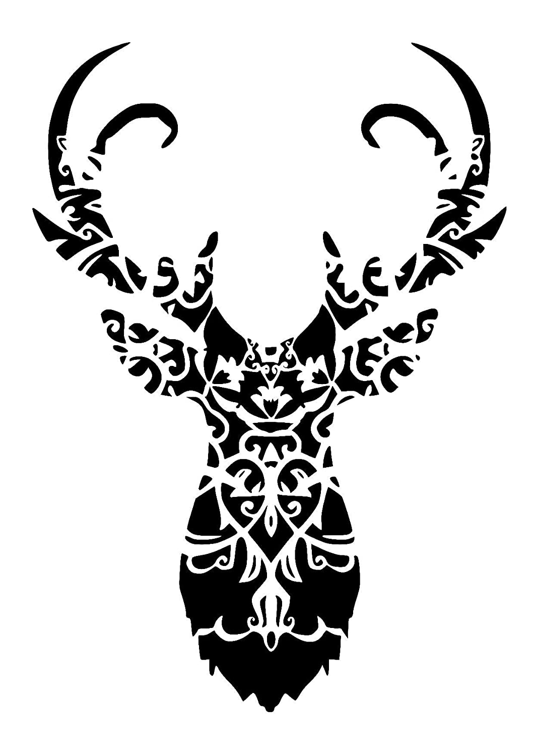 mandala deer/stag head stencil. Choose size and thickness.