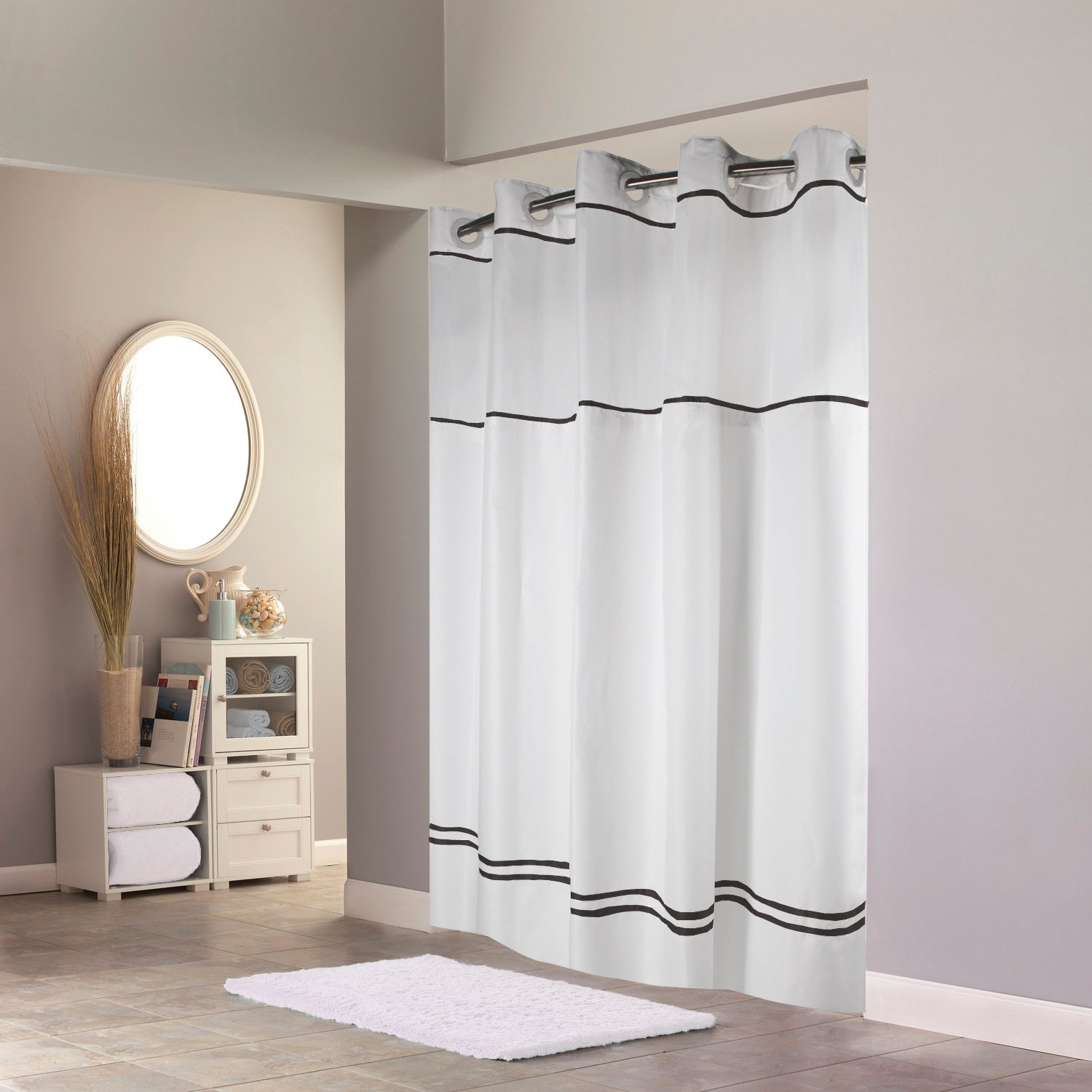 Hookless RBH40MY040 Monterey Shower Curtain with PEVA liner - White/Black by Hookless