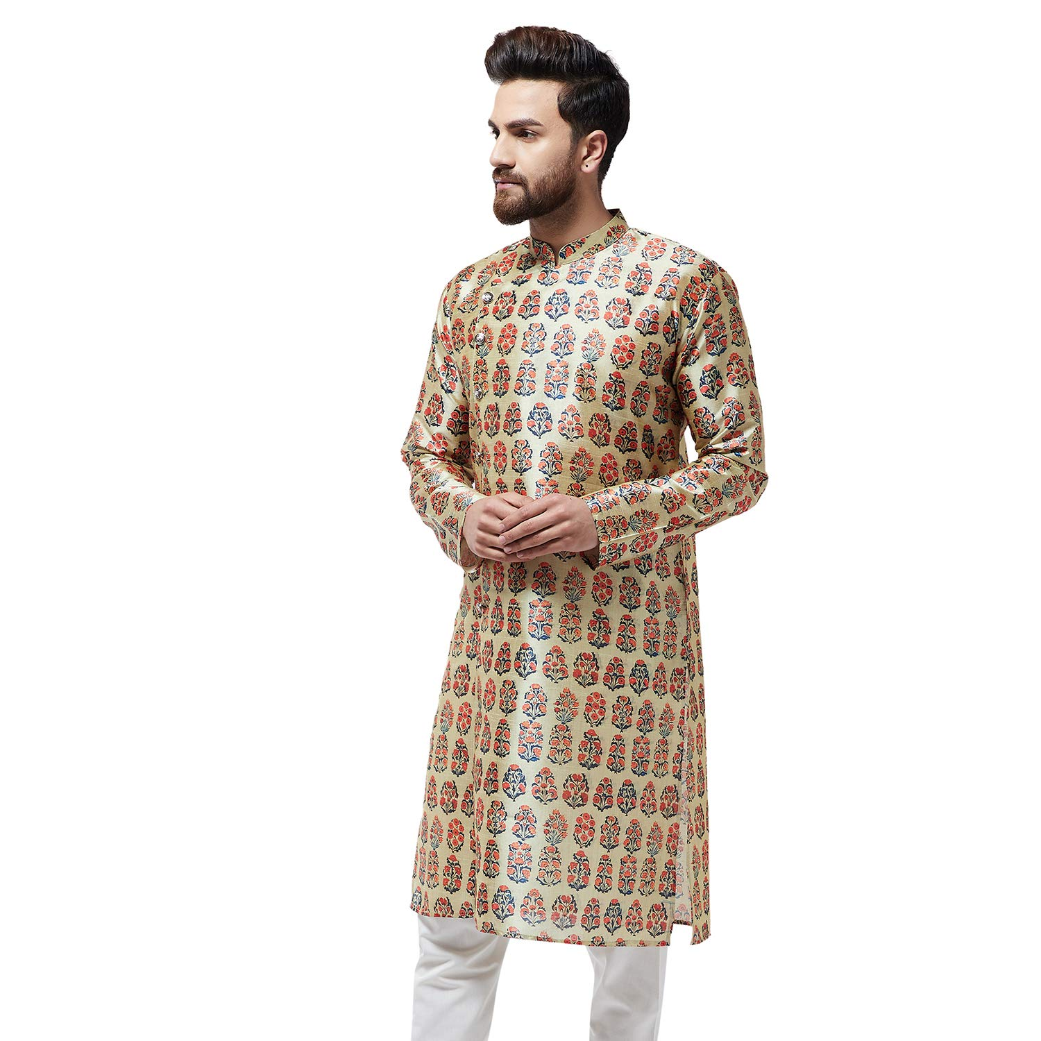 Festival-Men-Dupion-Silk-Kurta-Pajama-Ethnic-Party-Wear-Bollywood-Dress-Pyjama thumbnail 38
