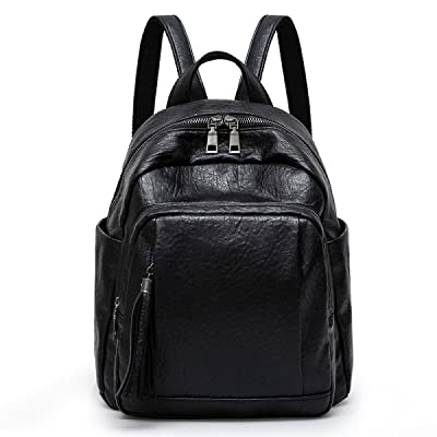 Women's Large Capacity Backpack 12 Inches Waterproof Computer Backpack Fashion Personality Wild Soft Leather Leisure College Wind ,Black-OneSize