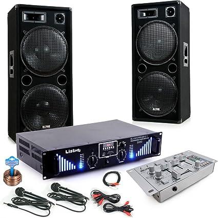 3000 W PA Equipo Cajas Amplificador Mixer Mesa de mezclas USB MP3 Cable Set 2 x Micrófono de DJ 280: Amazon.es: Electrónica