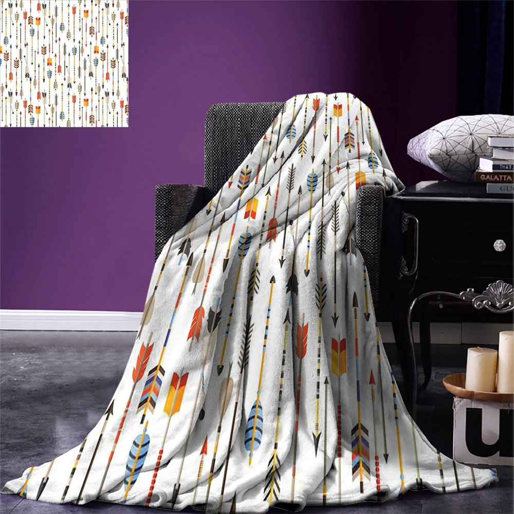 smallbeefly Arrow Decor Weave Pattern Extra Long Blanket Colorful Indian Arrows Native Style Artwork For Hunters Custom Design Cozy Flannel Blanket
