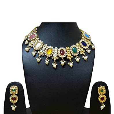 c6943693f1 Buy Gehnoor High Quality Artificial Navratna Kundan Necklace set with  Earrings ( Fashion Jewellery ) Online at Low Prices in India | Amazon Jewellery  Store ...