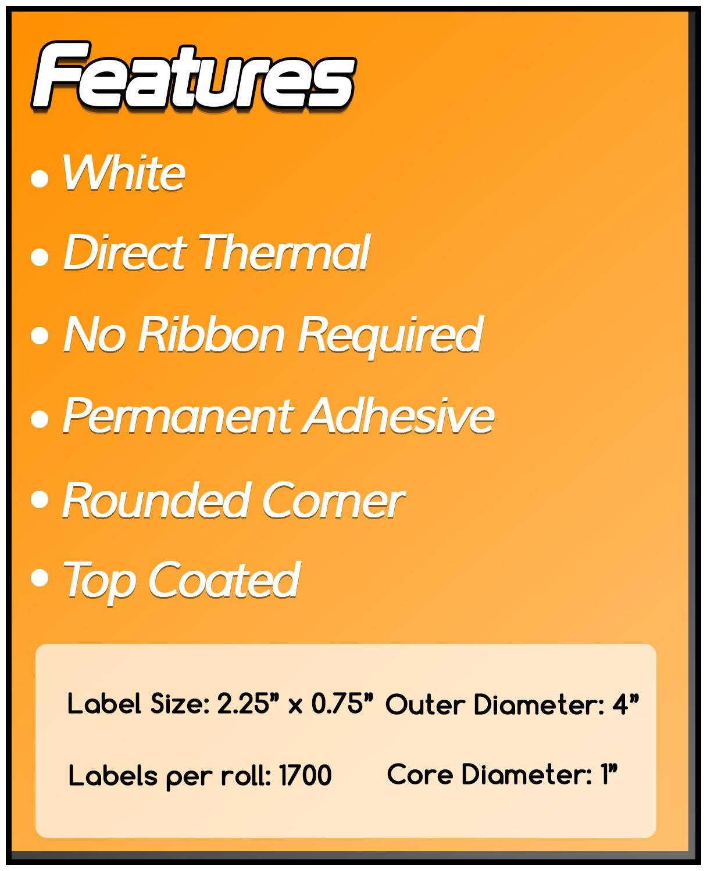 "1 Roll 2.25/""x0.75/"" Direct Thermal Barcode Label Zebra LP2824 TLP2824 LP2844 1/"""