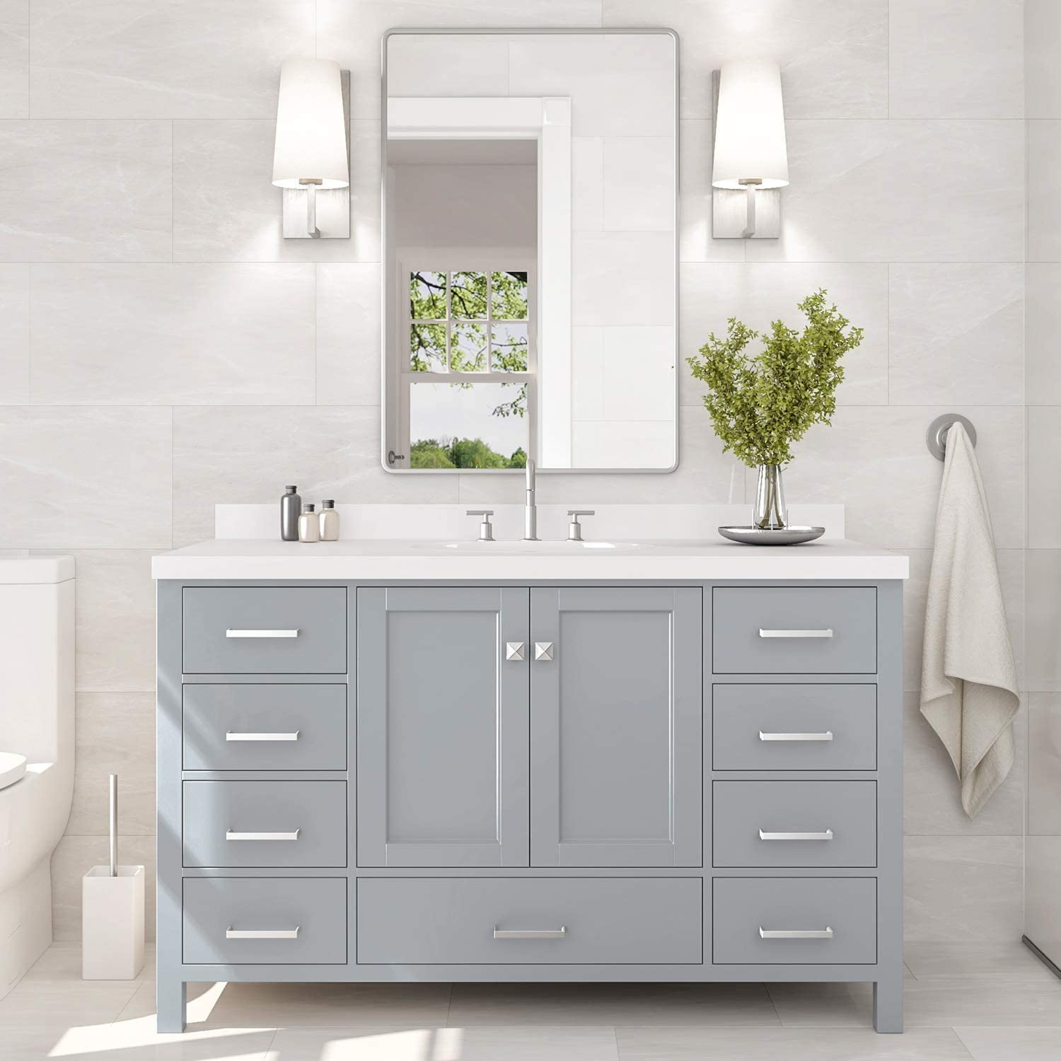 Amazon Com Ariel 55 Inch Bathroom Vanity In Grey With Pure White Quartz Countertop Rectangle Sink 2 Soft Closing Doors And 9 Full Extension Dovetail Drawers With Backsplash No Mirror Kitchen Dining