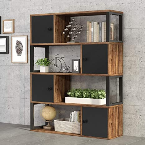 Tribesigns 4 Tier Bookcase Rustic Open Bookshelf With Storage Cabinet Vintage Industrial Display Book Shelf With Door For Home Office Organizer