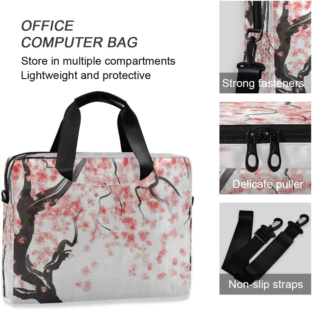 Japanese Pink Cherry Tree Blossom Laptop Case 15.6 Inch Carrying Protectiv Case with Strap