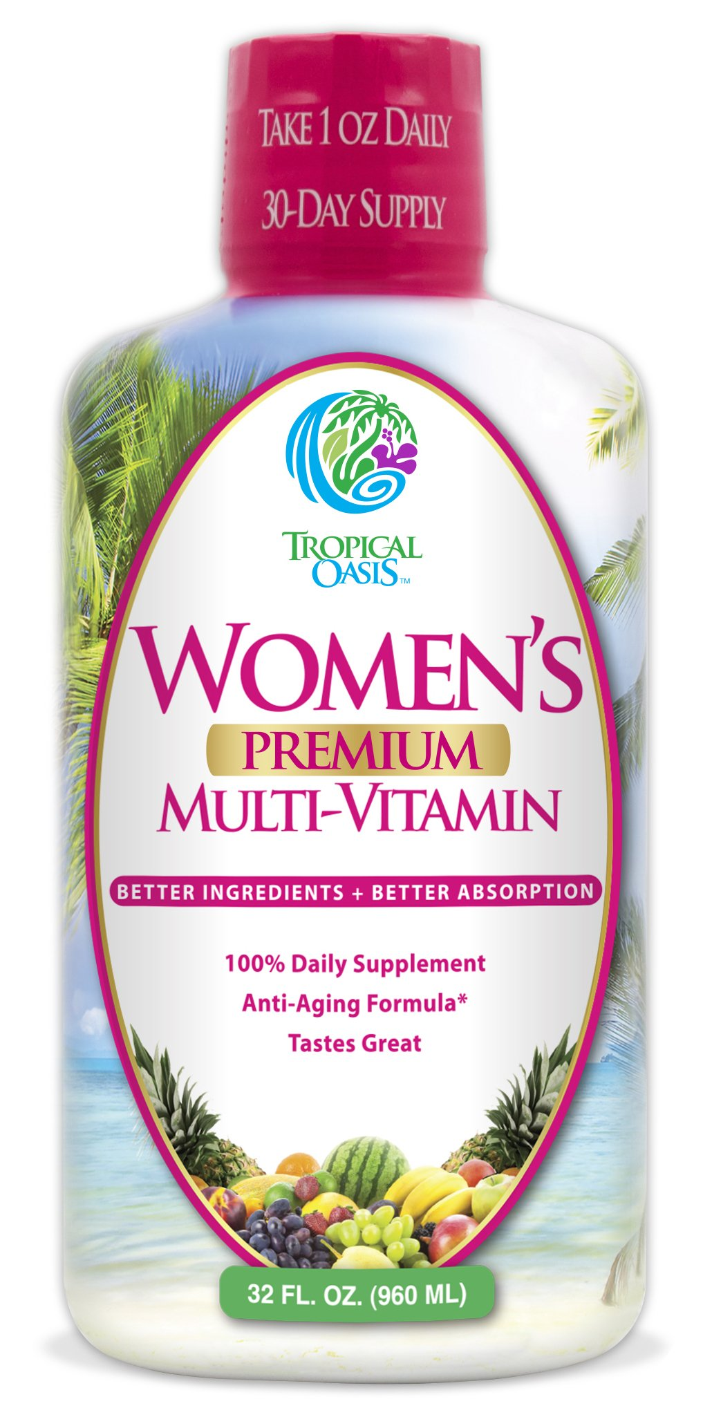 Women's Premium Liquid Multivitamin, Superfood, & Herbal Blend -- Multi-Vitamin for women with 100+ Ingredients for Heart, Brain, & Bone Health -1mo supply, 32 Serv