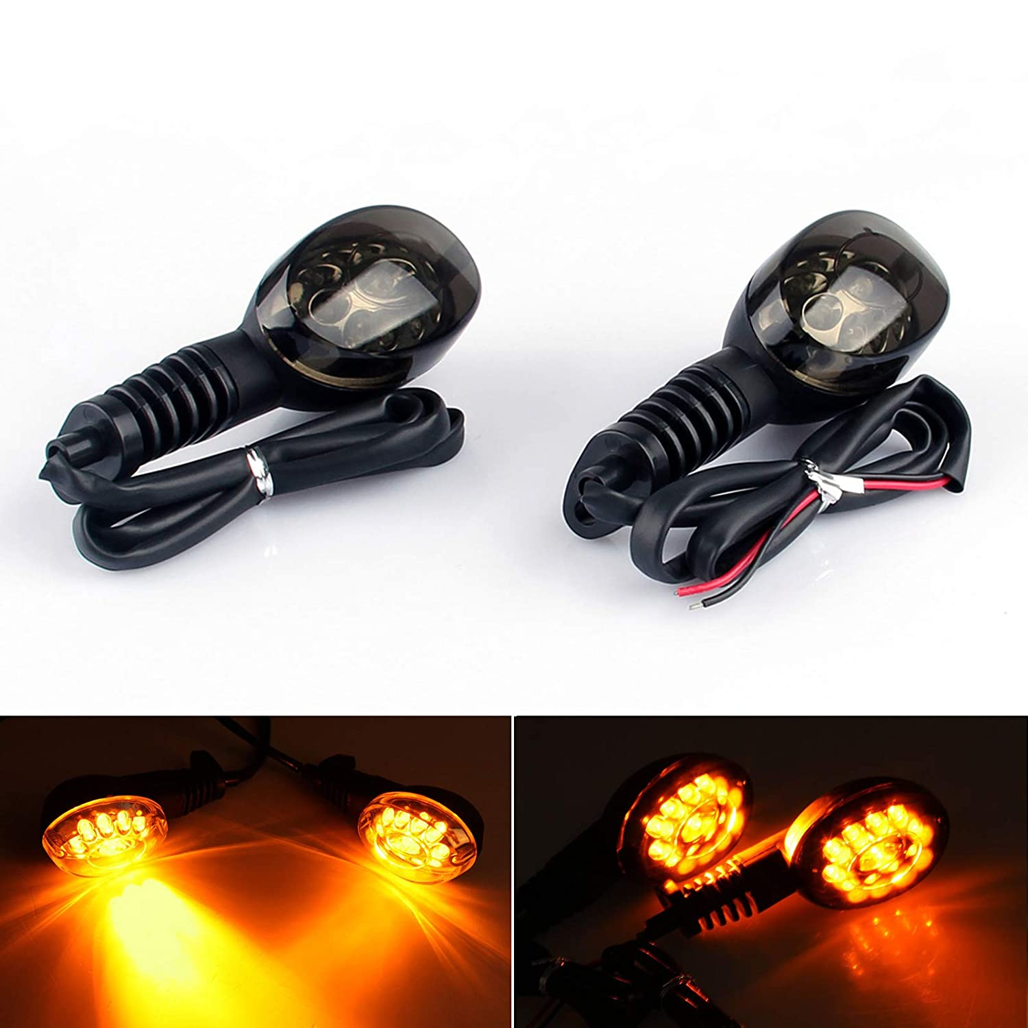 Areyourshop Front Rear LED Turn Signals Blinker Indicator Amber for Kawasaki Ninja 250R 2008-2012 Smoke