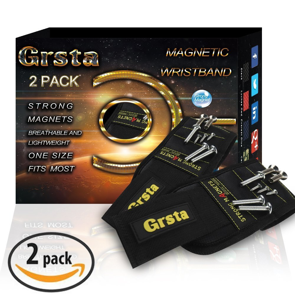 Grsta Magnetic Wristbands, With 5 Powerful Magnets magnet wristbands for Holding Tools,Screws,Nails,Bolts, Drill Bits and Small tools, nails and screws pouch (Black 2Pack)