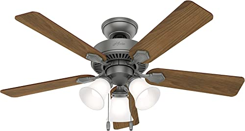 Hunter Swanson Indoor Ceiling Fan with LED Lights and Pull Chain Control, 44 , Matte Silver