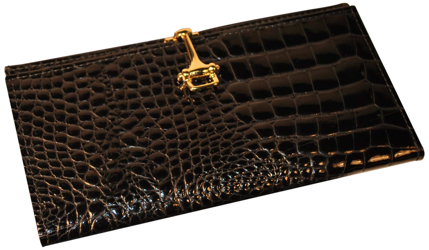Budd Leather Croco Bidente Checkbook Cover with Clip, Black by Budd Leather