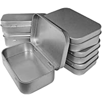 Hulless 3.75x2.45x0.8 inch (6pcs) Metal Hinged Top Tin Box ContainersMini Portable Small Storage Containers Kittin Box…