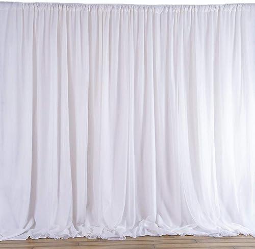 AK-Trading Chiffon Drapes Panels for Wedding Events Decor- Backdrop Draping Curtains 115 x 144 , White