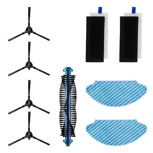 Kit de Accesorios para Robot Aspirador Bagotte I7 (4 Brochas Laterales + 2 Paños + 2 Filtros de Alto Rendimiento + 1 Cepillo Rodante)