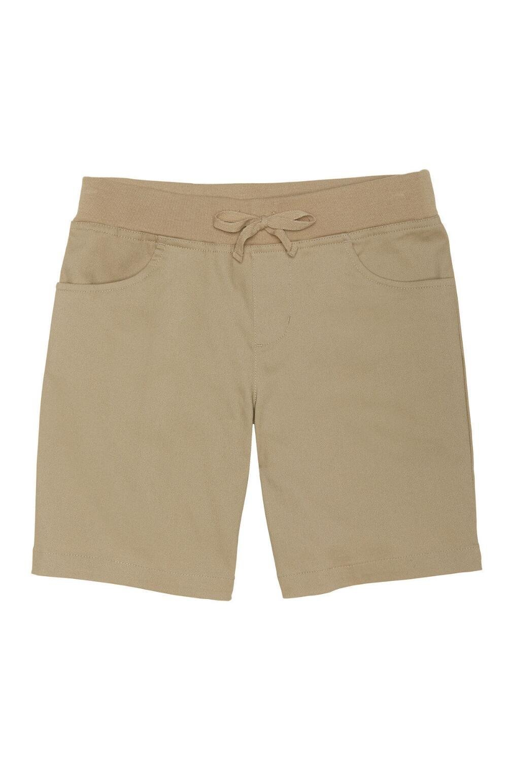 French Toast Little Girls' Stretch Pull-on Tie Front Short, Khaki, 6