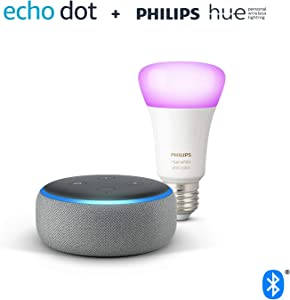 Echo Dot (3.ª generación), tela de color gris oscuro + Bombilla inteligente LED Philips Hue White & Color, compatible con Bluetooth y Zigbee, no se requiere controlador