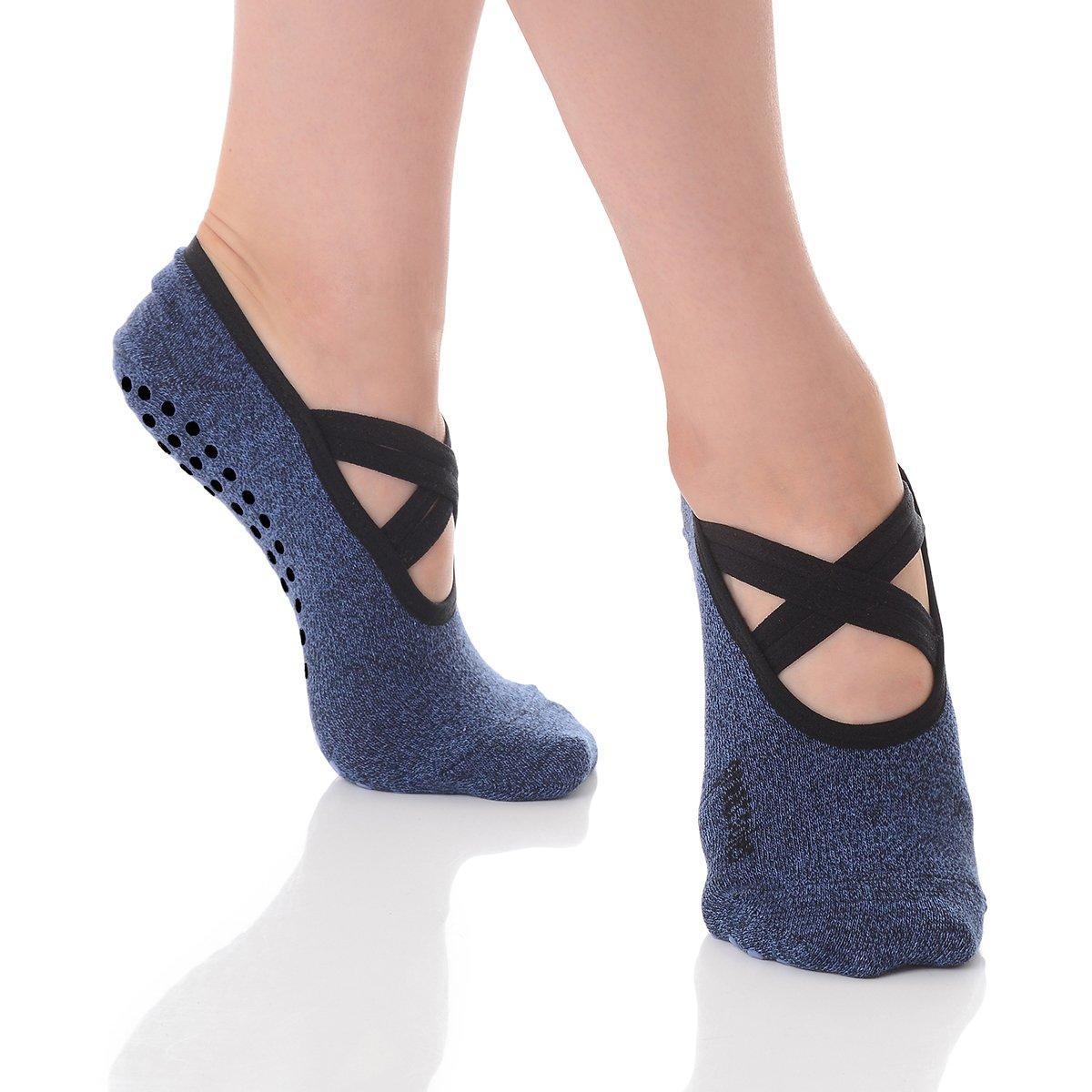 Great Soles Ballet Socks with Grip for Women - Non Slip Yoga Socks for Pilates, Barre (Juliet Denim)