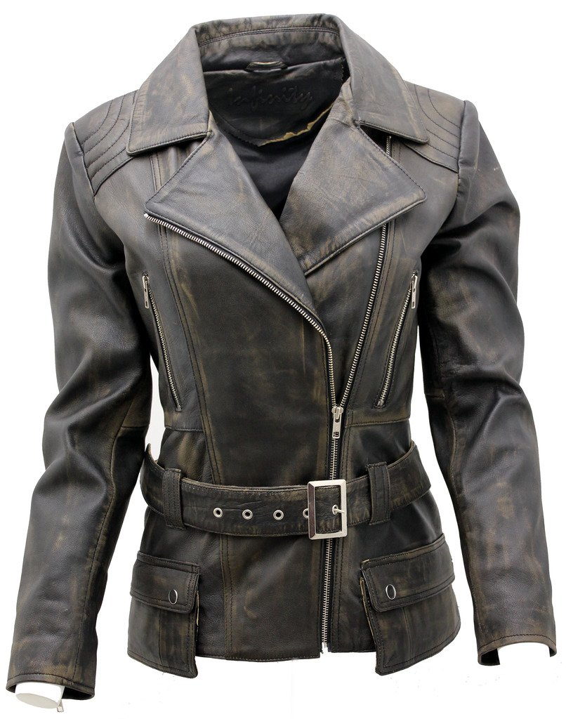 Ladies Black Vintage Feminine Leather Biker Jacket 10
