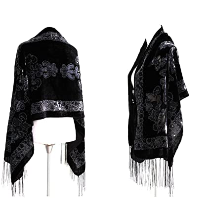 498f8d440 Image Unavailable. Image not available for. Color: Handmade New Elegant  Black Gray Silk Burnout Velvet Scarf Shawl Wrap