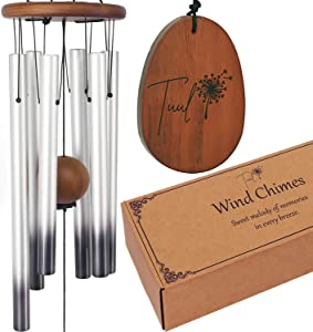 Tuul Wind Chimes for Outside - Silver 28 Inch Aluminum Windchimes with Adjustable Tone. Unique House Warming Presents for New Homes - with Gift Box, Ideal for Patio/Porch/Yard/Outdoor/Garden Decor