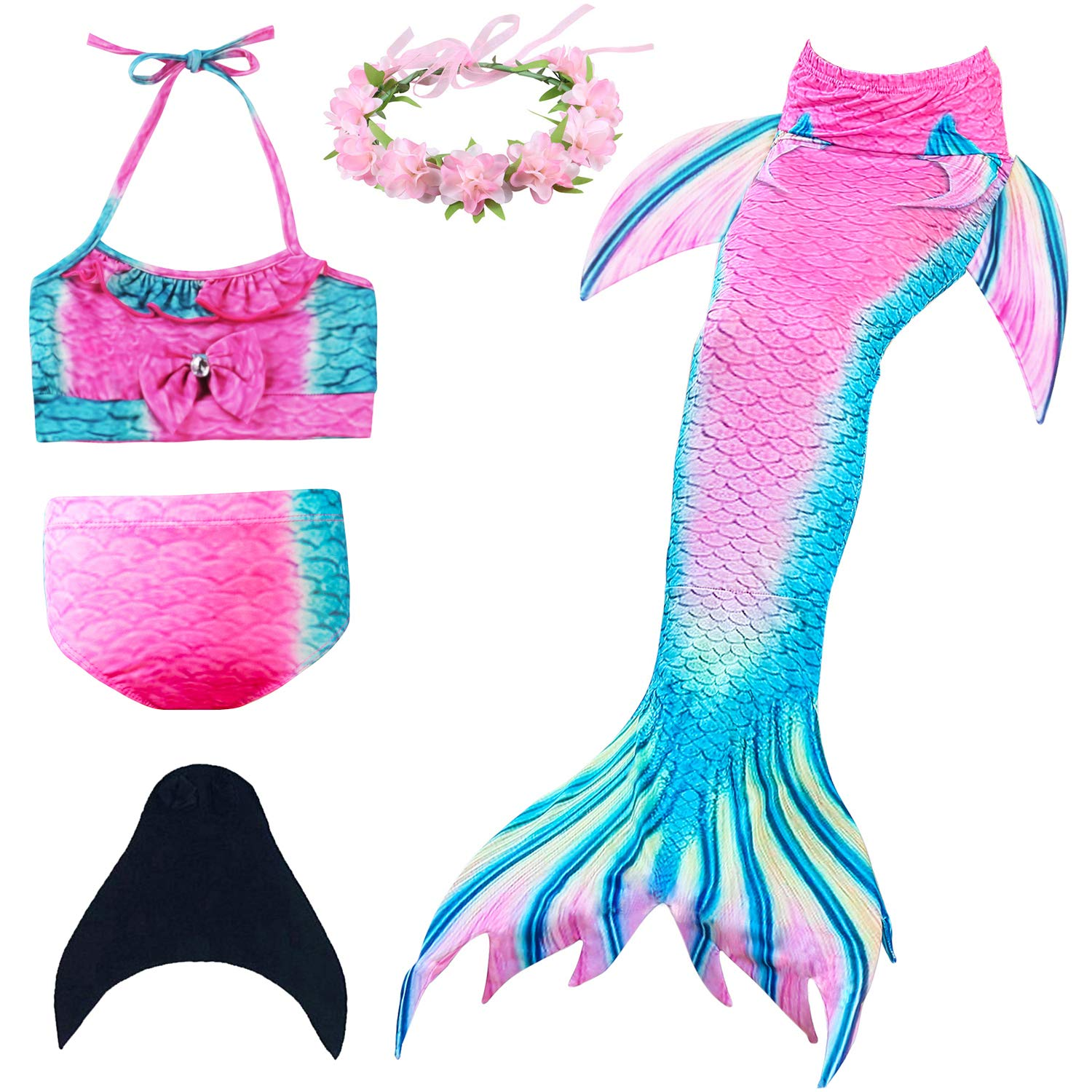 5d8c4ccb70a65 Mermaid Tail Include:1pc Top +1pc Underwear +1pc Mermaid Tail and Gift  Random color Sunflower Headband.Kind Note: Monofin not included (Recommend  Purchase ...