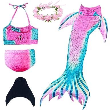 5ea214e657 Amazon.com: Mermaid Tail Swimming Girls 4Pcs Bikini Set: Clothing