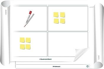 Vi-Tools: 4 Quadranten/Whiteboard: beidseitig beschreib- & abwischbares mobiles Whiteboard, einroll- & wiederverwendbar, Vorderseite: 4 Quadranten Vorlage, Rückseite: Whiteboard, Gr.: ca. 85 x 118 cm