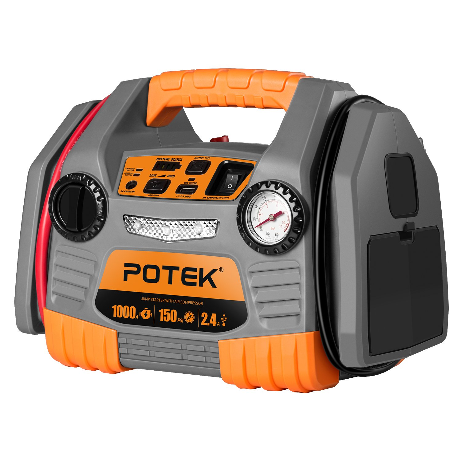 POTEK Car Jump Starter with 150 PSI Tire Inflator/Air compressor,1000 Peak/500 Instant Amps with USB Port to Charge Iphone,IPad, Kindle by POTEK