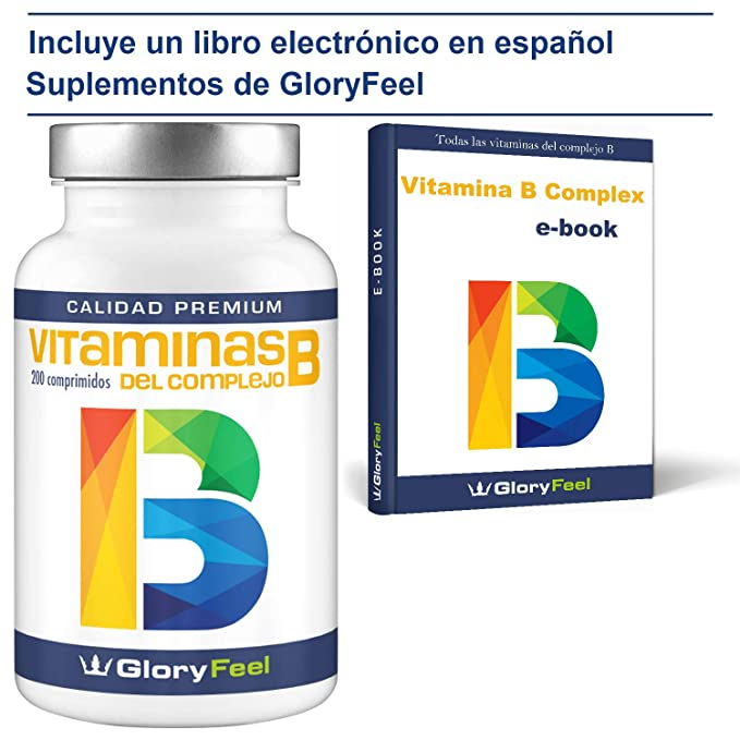 Vitamina B complex - 200 comprimidos de vitamina b - Complejo Vitamina B las 8 vitaminas en una pastilla - B1 B2 B3 B5 B6 B7 (biotina) B9 (ácido fólico) y ...