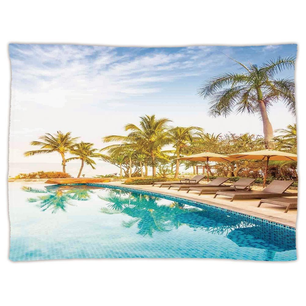 Super Soft Throw Blanket Custom Design Cozy Fleece Blanket,House Decor,Aerial View of A Pool in A Health Resort Spa Hotel with Exotic Elements Sports Modern Photo,Multi,Perfect for Couch Sofa or Bed