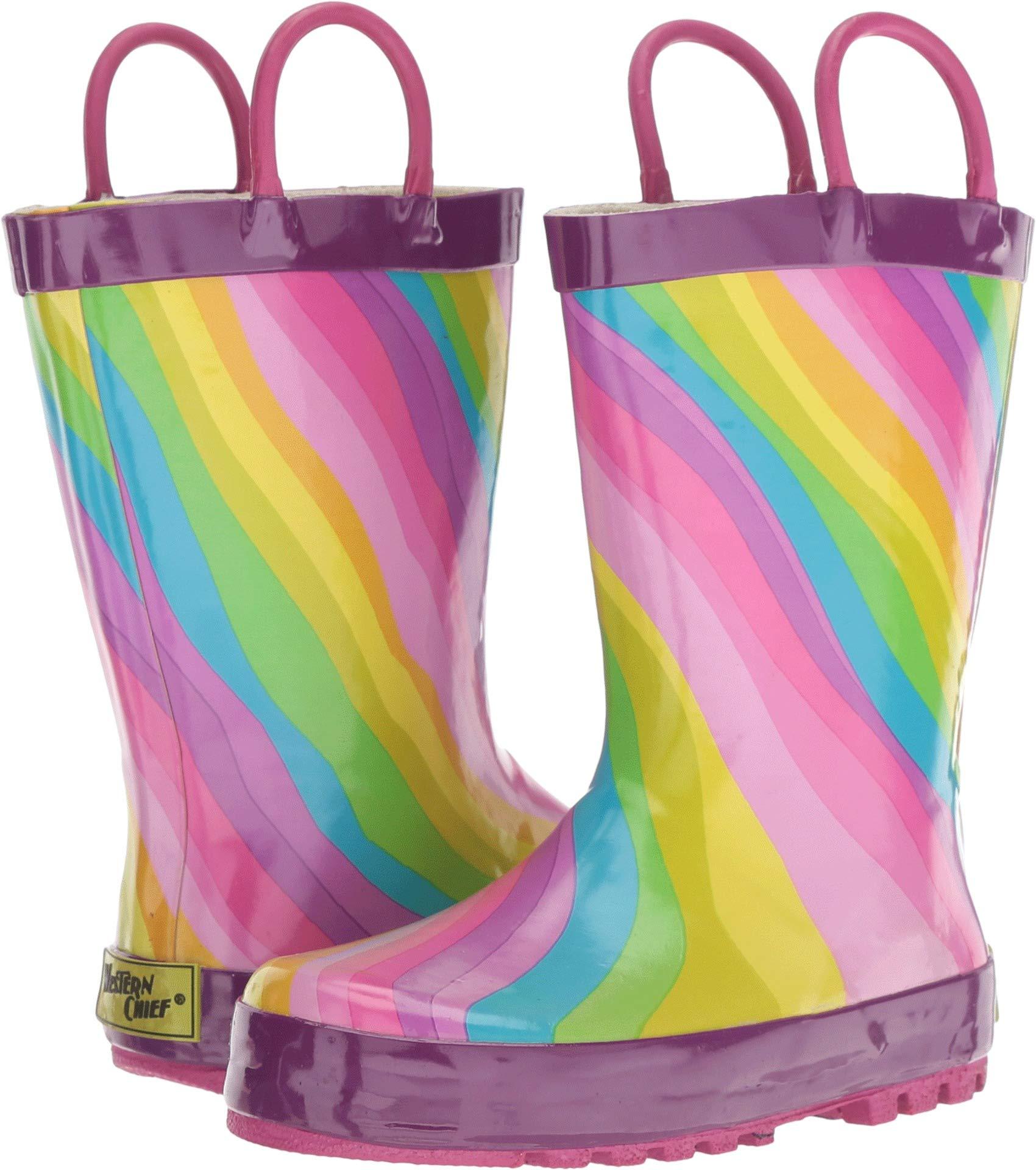Western Chief Girls' Waterproof Printed Rain Boot, Rainbow, 13/1 Medium US Little Kid