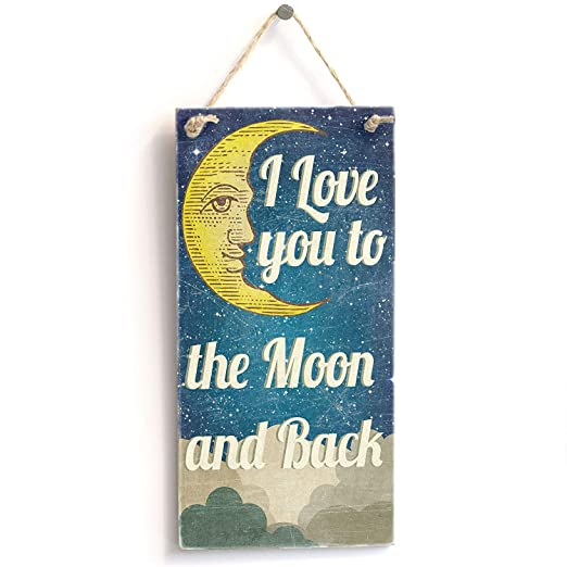 I Love You to The Moon and Back Cartel de Pared Madera Placa ...