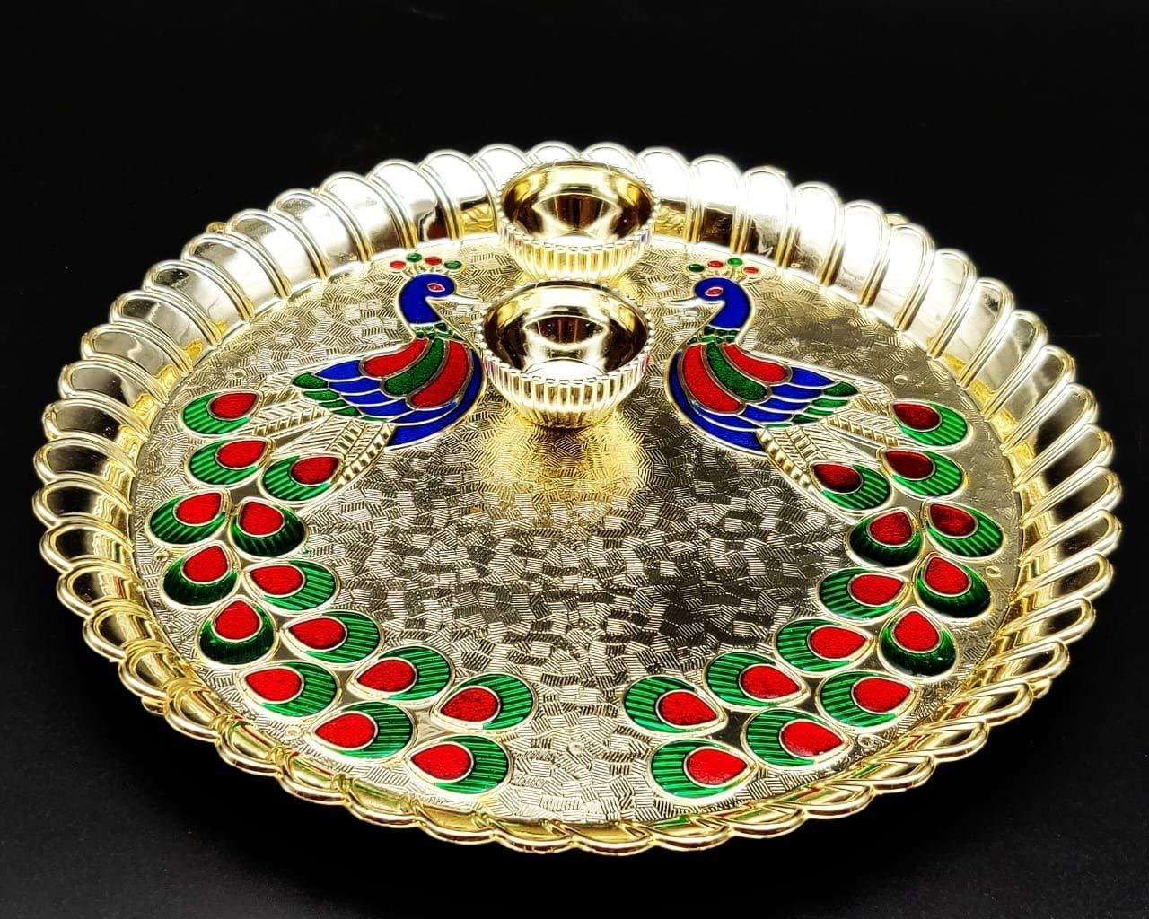 Thali 1 Pooja Thali Decorative Platter Set for Karwachauth Puja//Pooja Diwali//Deepawali Laxmi,Durga,Ganesh Pooja for Hindu Puja Designer Art Pooja Thali//Puja Thali