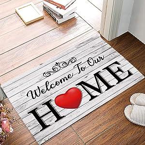 Libaoge Door Mats Indoor Entrance Welcome Rug Bath Mat Welcome to Our Home Rustic Wood Funny Floor Mat Non-Slip Bathroom Kitchen Rug 16x24in