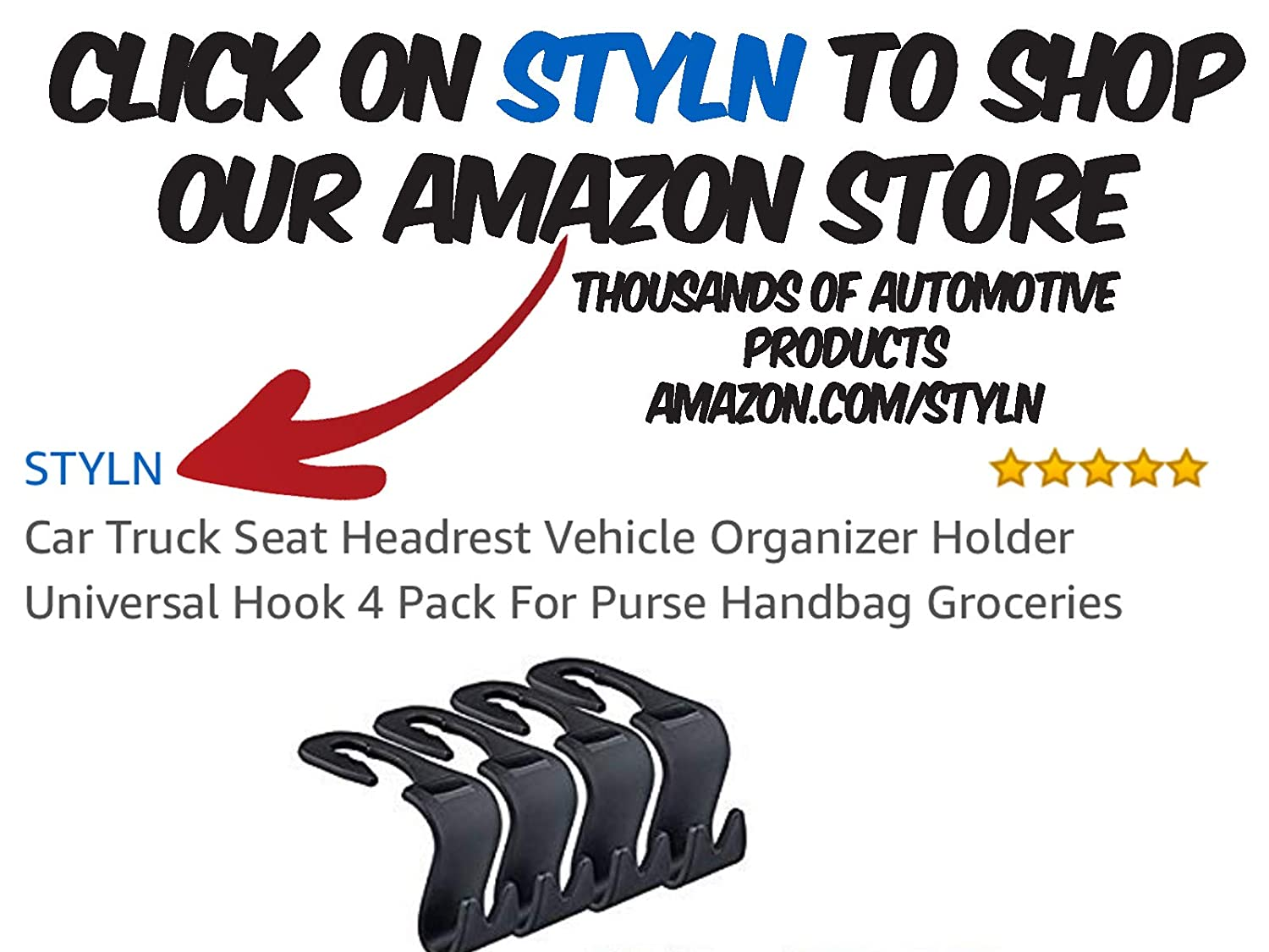 STYLN Car Truck Seat Headrest Vehicle Organizer Holder Universal Hook 4 Pack for Purse Handbag Groceries Styln Industries 5559020841
