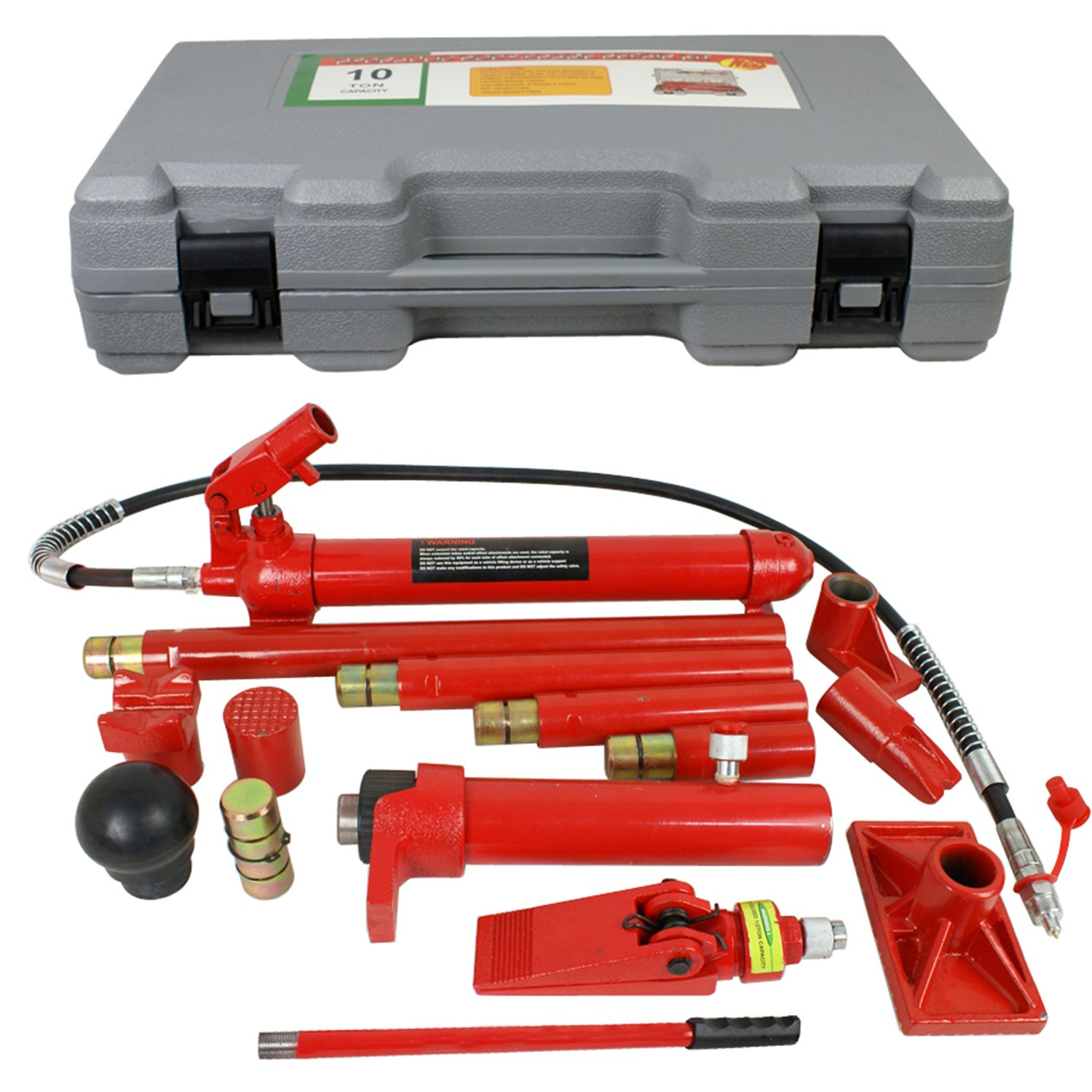 F2C 10 Ton Capacity Porta Power Hydraulic Bottle Air Jack Repair Tool Kit Power Set Auto Tool (10 Ton)